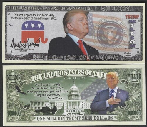 Re-Elect Trump 2020 Million Dollar Bill Fake Play Funny Money + FREE SLEEVE