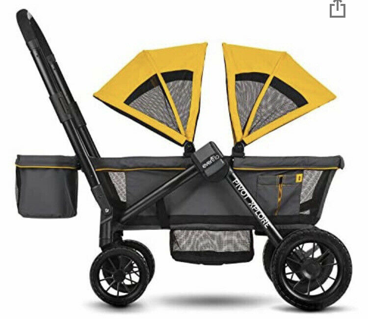 BRAND NEW Evenflo Pivot Xplore All-Terrain Double Stroller Wagon Gray & Yellow