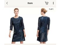 Marks and spencer navy sequin dress size 18 short brand new with tags party holiday Christmas