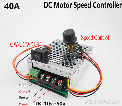 12v 24v 36v 48v 40a Pwm Dc Motor Speed Driver Control Cw Ccw Reversible Switch