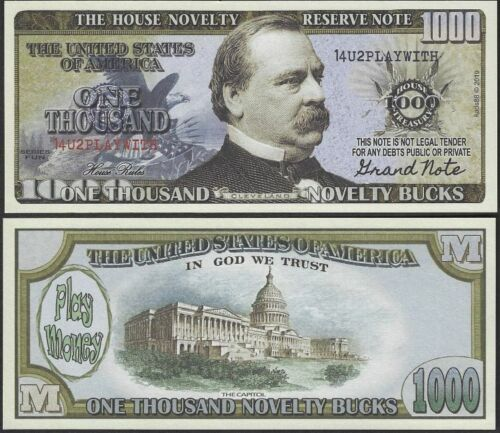 $1000 Thousand Dollar Bill Play Funny Money House Novelty Note FREE SLEEVE