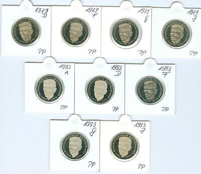 BRD  2 DM Kurt Schumacher 1979 - 1993 PP  (63 Münzen!)