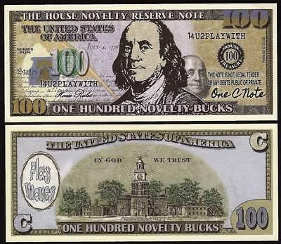 Lot of 100 Bills- One Hundred Novelty Bucks, Play Money Dollar Novelty Note - Play Money 100 Dollar Bills