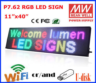 11 X 40 Rgb Led Sign Programmable Scrolling Indoor Message Display P7.62