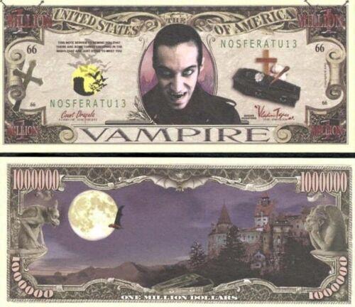2 Sleeved Vampire Coffin 66 Million Dollar Novelty Bill USA Seller Count Dracula