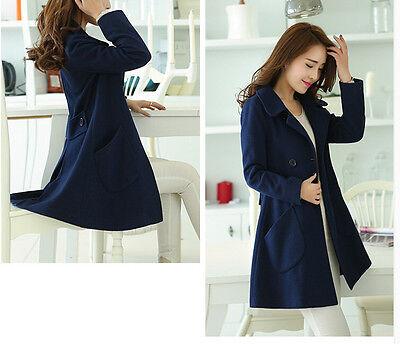 Giacca cappotto cappottino lungo elegante donna blu morbido e caldo 1120