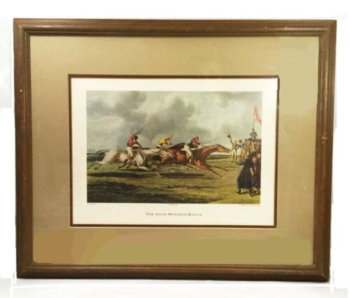 "Vintage horse racing print. Henry Thomas Alken. ""The High Mettled Racer"". Framed"