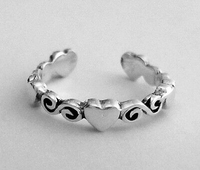 Sterling Silver 5 hearts dainty small size adjustable toe ring