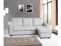 NEW Genuine Leather Corner Chaise Lounge Sofa - Black or White - Free Birmingham Fast Delivery***