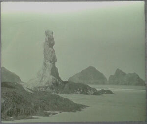 28-Lantern-Glass-Slide-Sea-Stack-Holywell-Beach-Cornwall-Photo-pre-1920s