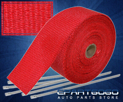 """30Ft X 2"""" X 1.5mm Jdm Red Heat Wrap Header Manifold Exhaust+ Stainless Zip Ties, used for sale  La Puente"""