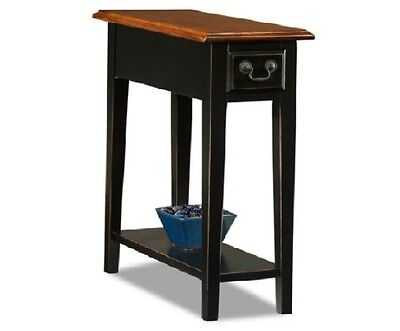 Bedroom Oak Accent Table - Chair Side End Table Black Oak Two Tone Wood Drawer Compact Accent Furniture