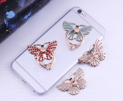 360 Rotating Cell Phone Crystal Butterfly Ring Stand Holder Grip Kickstand Butterfly Ring Holder
