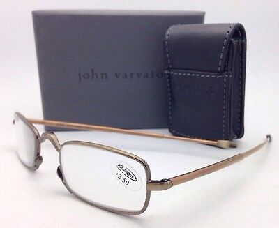 New Folding JOHN VARVATOS Eyeglasses V803 +2.50 Antique Gold Transitions Readers