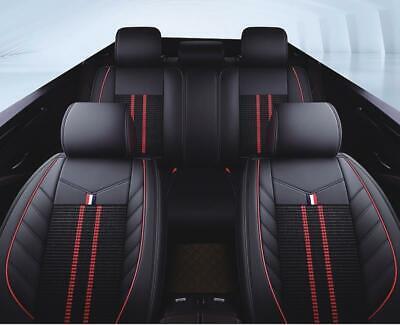 Komplettsatz Kunstleder Sitzbezüge Schwarz/Rot zwei Sportstreifen Schonbezüge