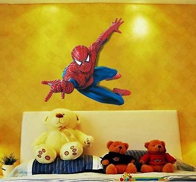 US! 3D Spiderman Mural Wall Decal Sticker Halloween Cosplay DIY Kids Room Decor