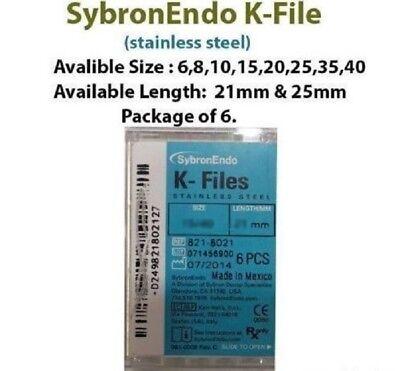 10 X Sybronendo K-file Stanless Steel Endo File Pack Of 6