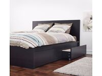 Ikea black double bed frame with storage drawers FREE DELIVERY