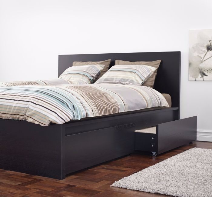 Black-brown IKEA MALM bed frame with 2 storage boxes including ...