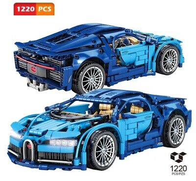 Bugatti Chiron Technic Racing Building Blocks MOC Blue Super Sports Car Toys Kid