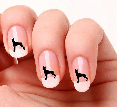 20 Nail Art Stickers Black Vinyl Dog Doberman - peel & stick