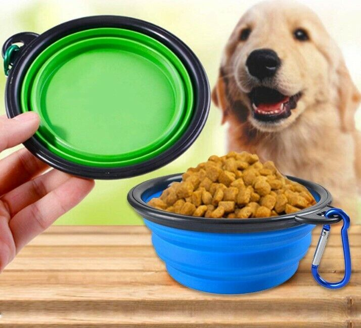 Dog Food Bowl Water Bowls Round Feed Outdoors Portable Travel Drinking Pets Dogs