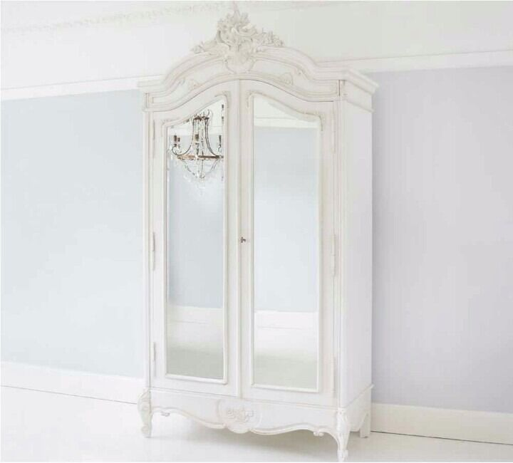 gallery of french chateau cream door mirrored armoire. Black Bedroom Furniture Sets. Home Design Ideas