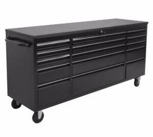 NEW 6 FT 15 DRAWER BLACK WORKBENCH TOOL BOX 7215PC