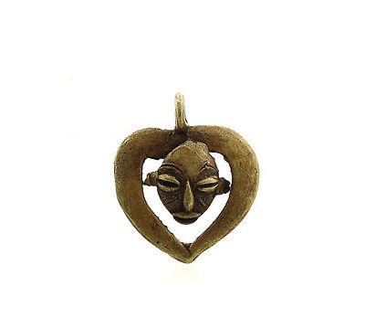 Pendant African Ashanti Tribale Ancestor Heart Door Key Bronze 5133