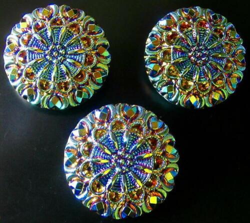 "3 Czech Glass LACY Buttons #B350 - 27 mm or 1"" - RAINBOW IRIDESCENT!!!!!!!!!!!!!"