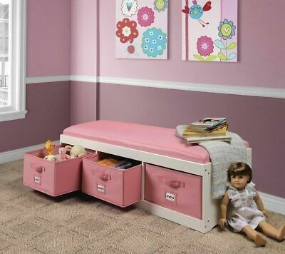Storage Bench Toy Box Kids Bedroom Cushion Furniture Organizer Basket White Pink Storage Toy Box Bench