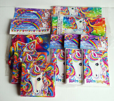 Horse Party Invitations (Lisa Frank Birthday Party Supplies Rainbow Horse Banner Tablecover)