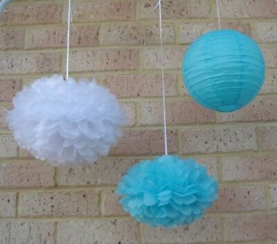 18x blue white paper pom poms lanterns wedding 1st birthday baby shower - Pom Poms Blue And White