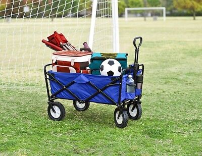 - Folding Utility Wagon Outdoor Collapsible Large Portable Sport Cart Wheels Blue