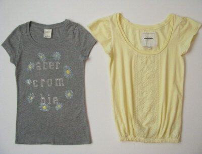 abercrombie kids Lot girls S 8 10 Gray Daisy Logo Tee Yellow Peasant Top VSCO