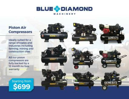 Air Compressor - Piston 18-42CFM 160 Lt Diesel / Petrol /Electric