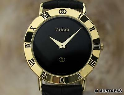 $260.59 - Gucci 3000M Swiss Made Men's Gold Plated Luxury 33mm Quartz 1990 Watch JA48