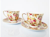 Valentines / Set of Two English Rose Cups + Gift Box