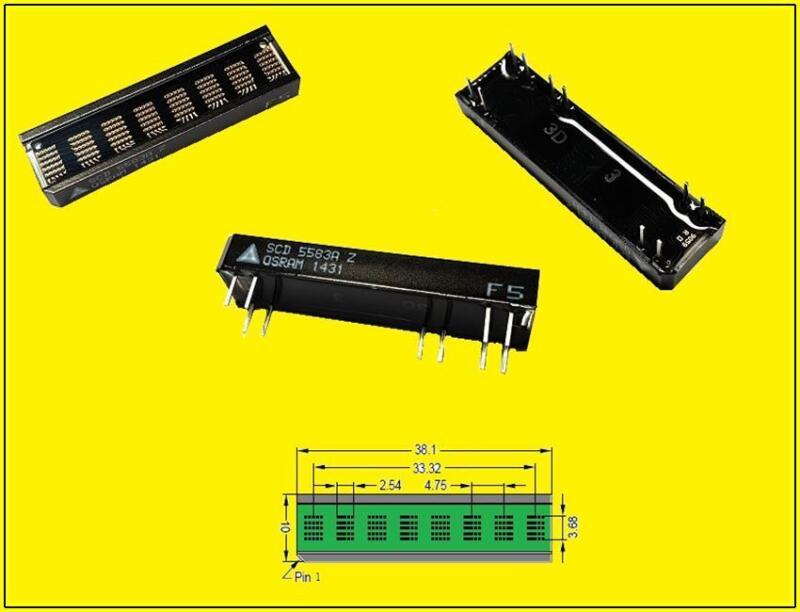 SCD5583A Serial LED Alphanumeric DOT matrix Display 8 DIGIT 5x5 Grün 1 x