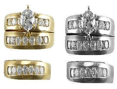 10K SOLID Yellow White Gold His & Her CZ Wedding Bridal Trio Ring Band Set