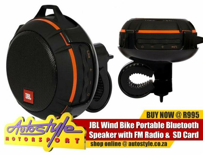 JBL Splash Proof Portable Bluetooth speaker for motorcycles, bicycle and outdoor travel. An all-in-