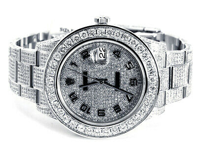 Custom Made Mens New Rolex Date Just II 2 Flooded With Genuine Diamonds 45 MM