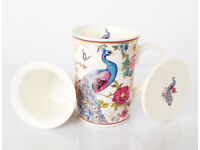 Gift / Valentines / Porcelain Peacock Mug with Infuser