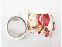FUSAICHI PEGASUS Red Roses Porcelain Mug with Strainer/ Gift / Valentines