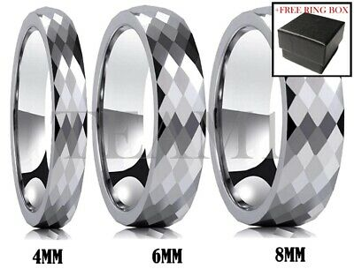 Tungsten Carbide Ring Silver Faceted Polished Wedding Band Comfort Fit Men Women ()