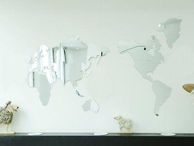 NEW 1 SET-12pcs Map of the World Wall Mirror Home Art Decor Interior Design