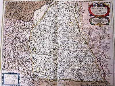 BODENSEE SCHWABEN BAYERN ALTKOL KUPFERSTICH KARTE GOLDHÖHUNG BLAEU 1662 #D936S
