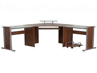 Corner Computer Desk L Shape Keyboard Tray CPU Cart Home Office Furniture Laptop