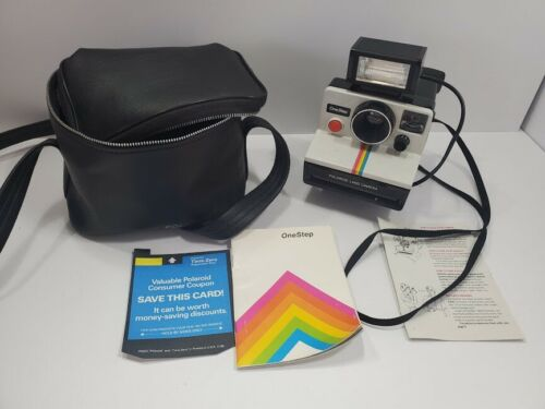 Vintage POLAROID Land Camera - White Rainbow One Step SX-70 w/ Flash