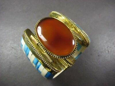 B5262 FASHION Brass AGATE BONE TRIBAL Naga Gypsy BOHEMIAN BANGLE BRACELET TIBET